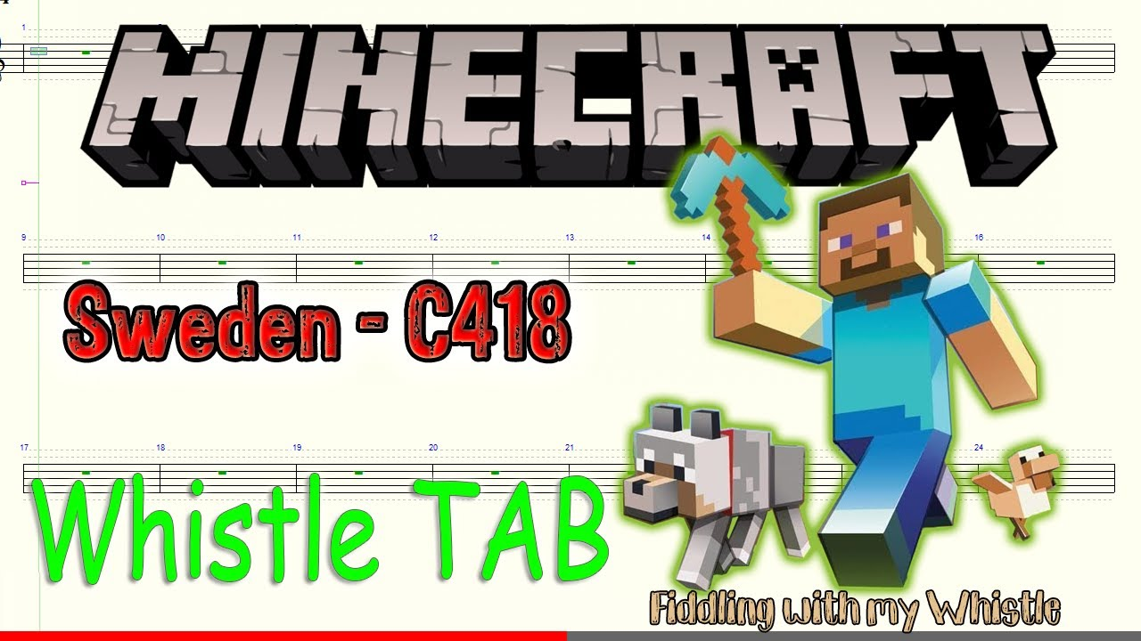Sweden C418 – Minecraft – Tin Whistle – Play Along Tab Tutorial